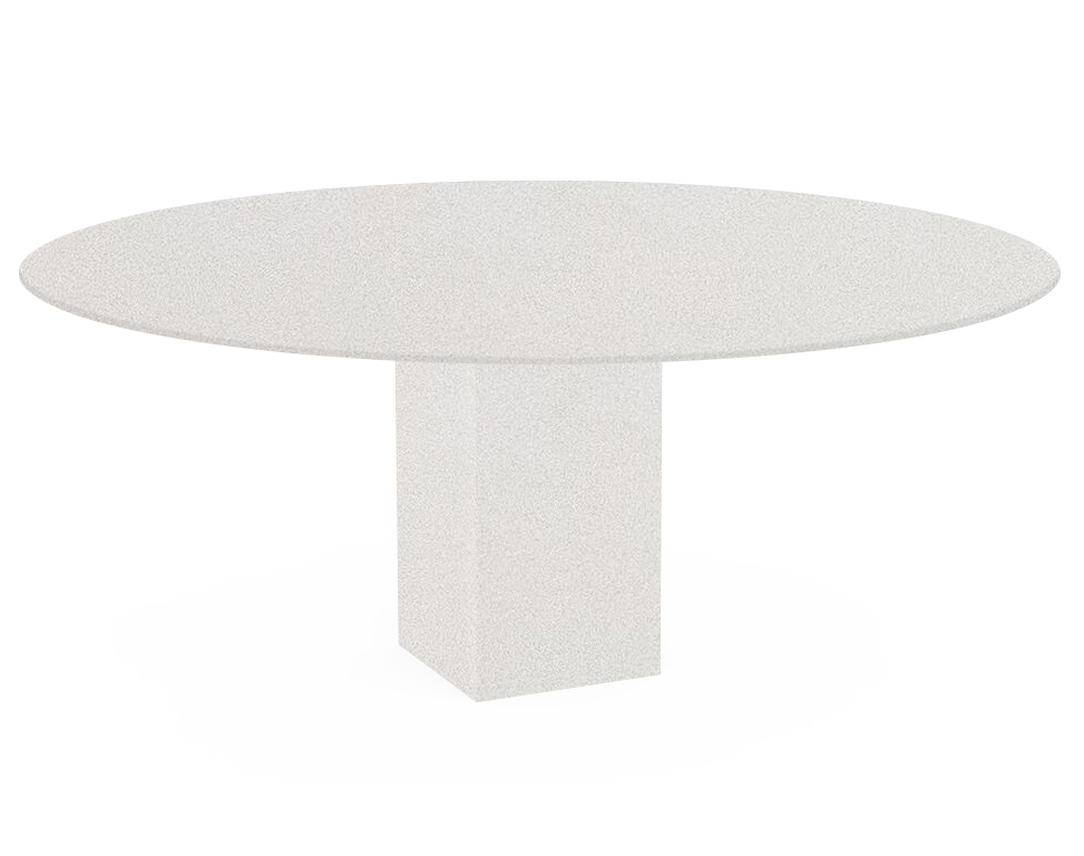 Snow White Arena Oval Quartz Dining Table