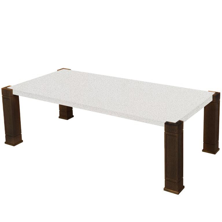 Faubourg Snow White Quartz Inlay Coffee Table with Walnut Legs