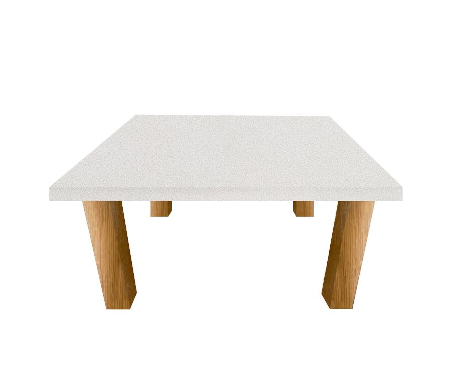 Snow White Quartz Square Coffee Table with Square Oak Legs
