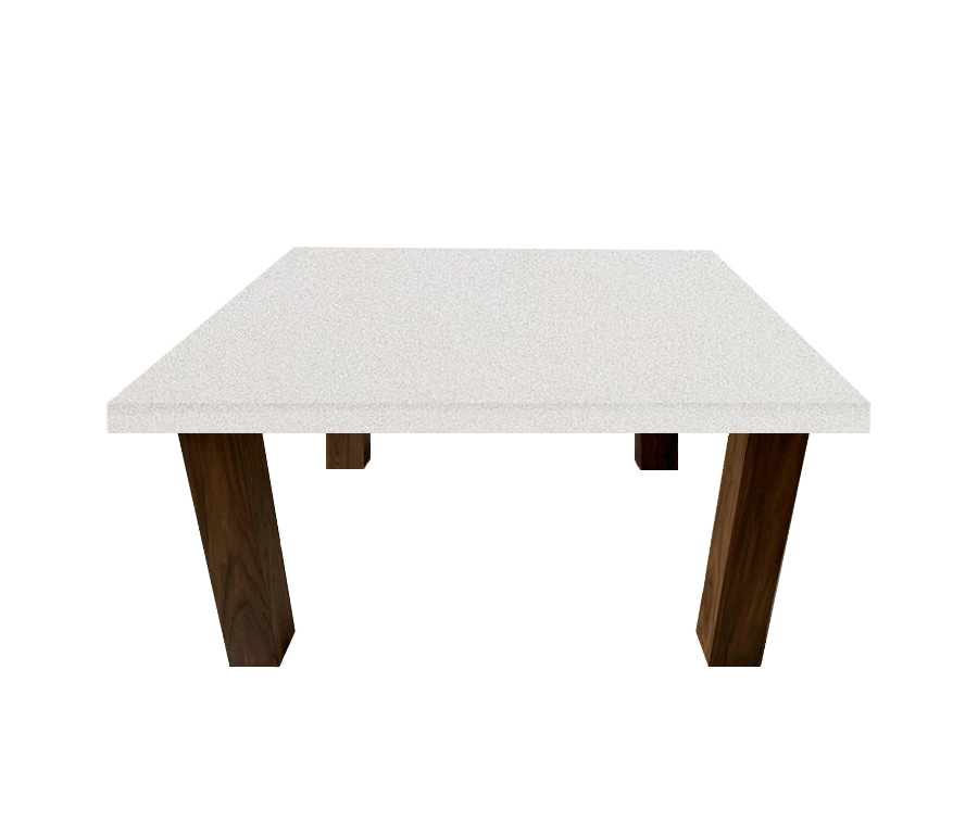 Snow White Square Coffee Table with Square Walnut Legs