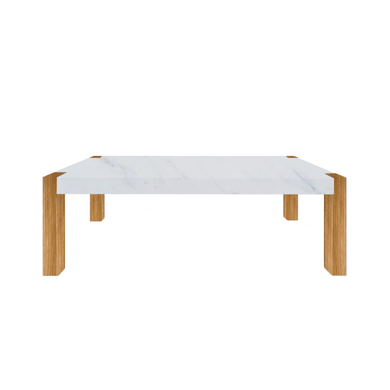 Statuarietto Extra Percopo Solid Marble Dining Table with Oak Legs