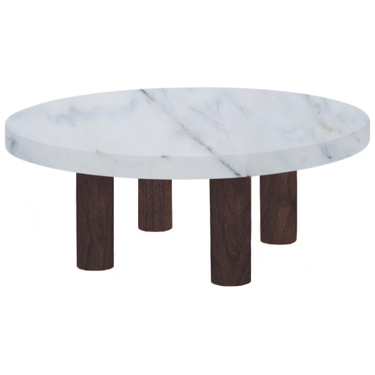 Round Statuario Extra Coffee Table with Circular Walnut Legs