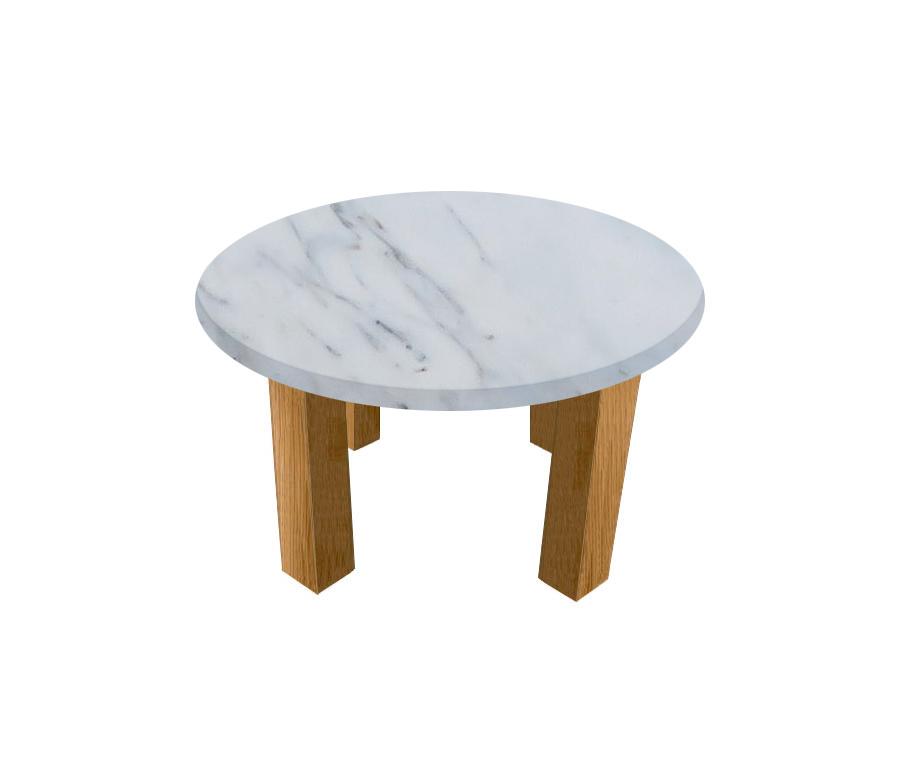 Statuario Extra Round Coffee Table with Square Oak Legs