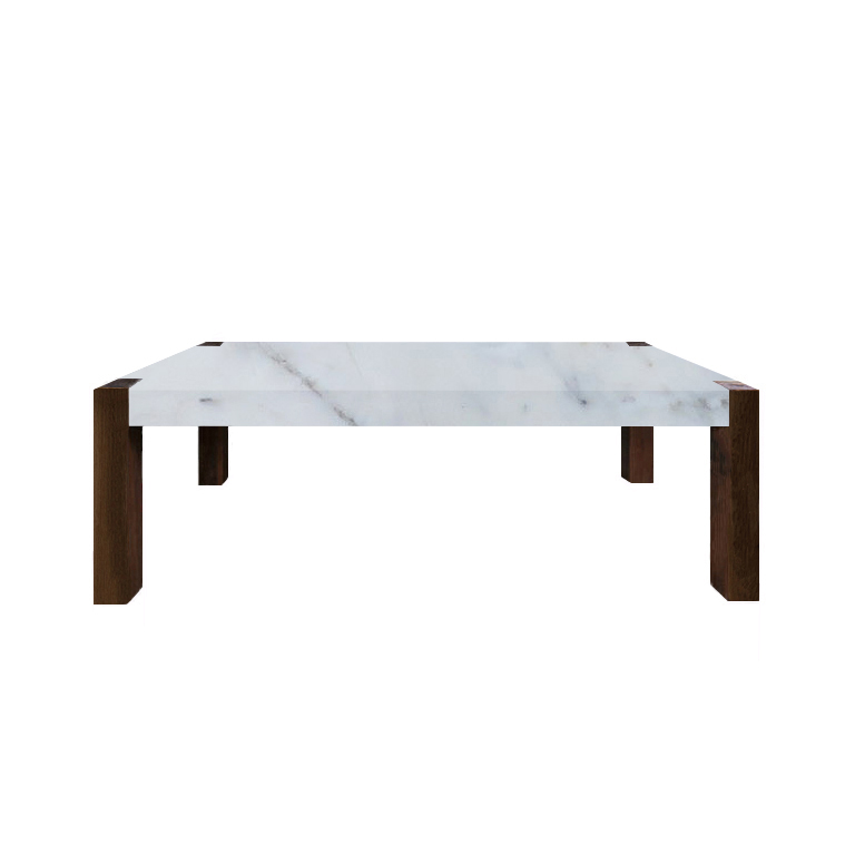 Statuario Extra Percopo Solid Marble Dining Table with Walnut Legs