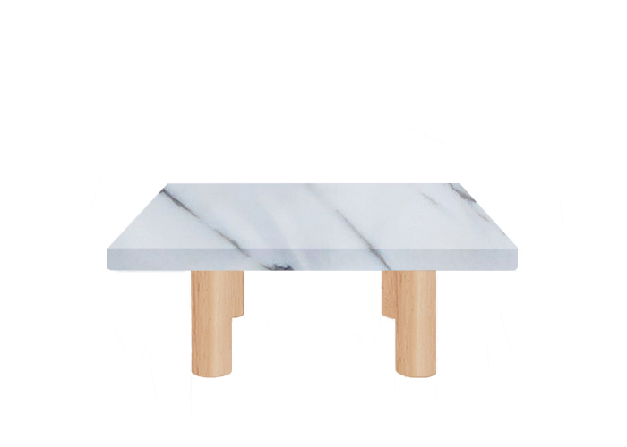 Statuario Extra Square Coffee Table with Circular Ash Legs