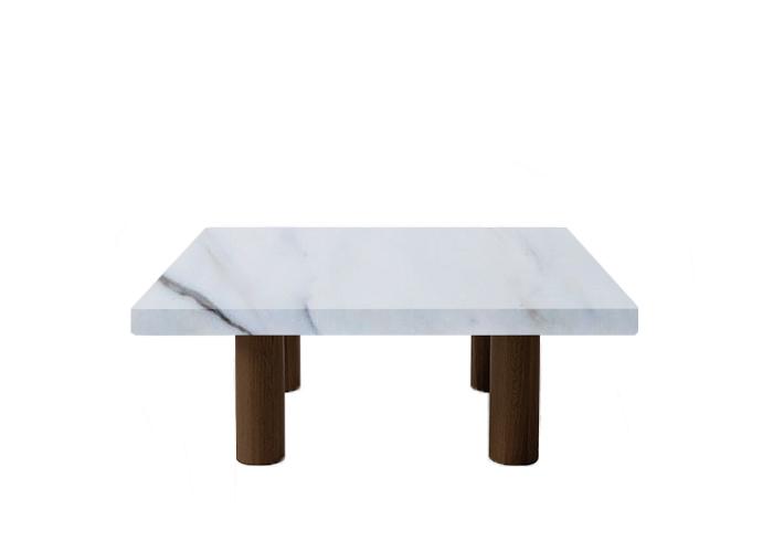 Small Square Statuario Extra Coffee Table with Circular Walnut Legs