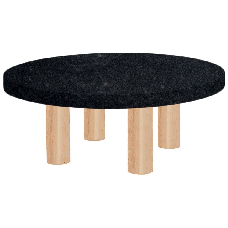 Round Steel Grey Coffee Table with Circular Ash Legs