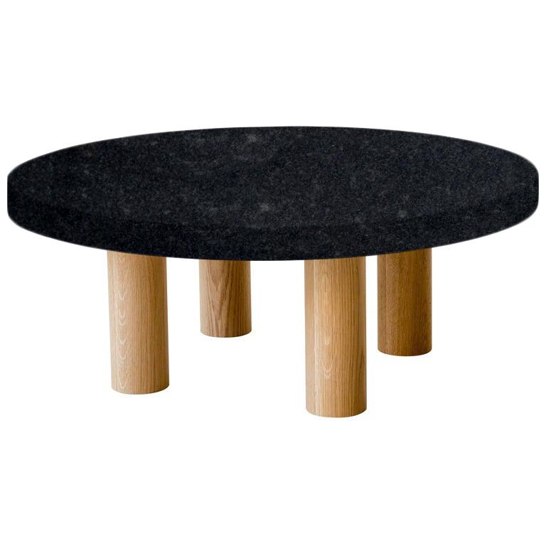 Round Steel Grey Coffee Table with Circular Oak Legs