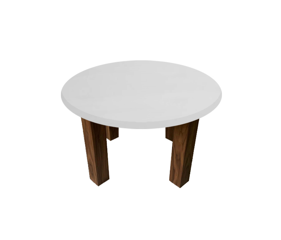 Thassos Marble Round Coffee Table with Square Walnut Legs