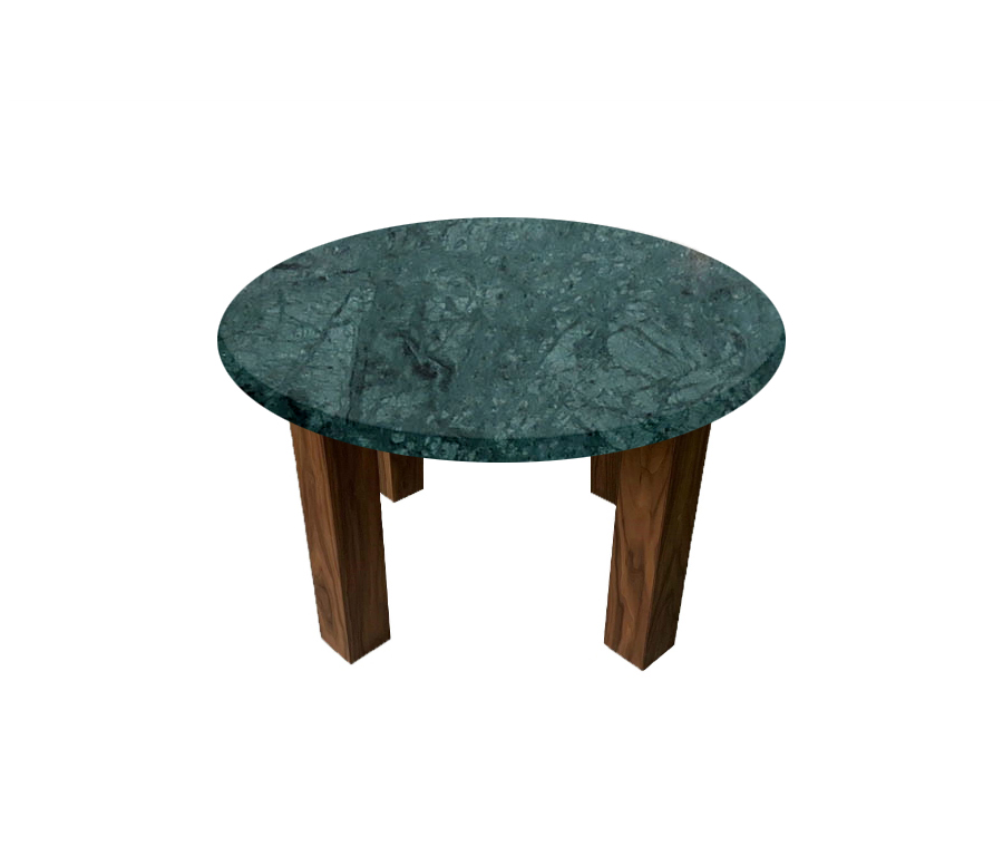 Verde Guatemala Round Coffee Table with Square Walnut Legs