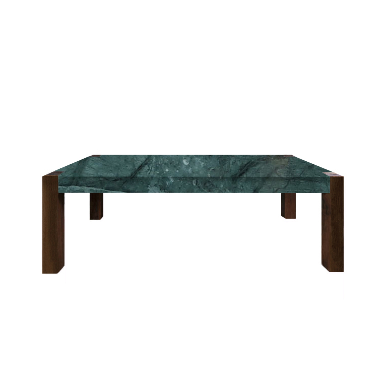 Verde Guatemala Percopo Solid Marble Dining Table with Walnut Legs