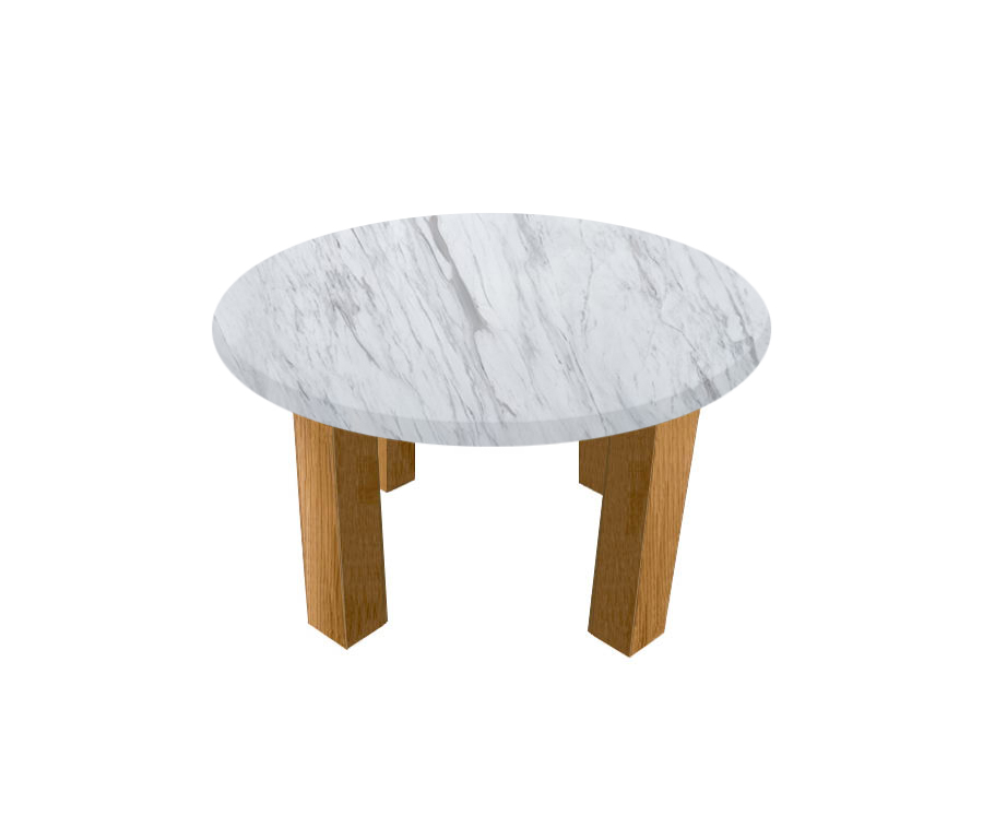 Volakas Round Coffee Table with Square Oak Legs