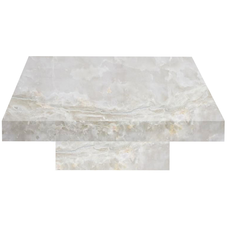 White Square Solid Onyx Coffee Table