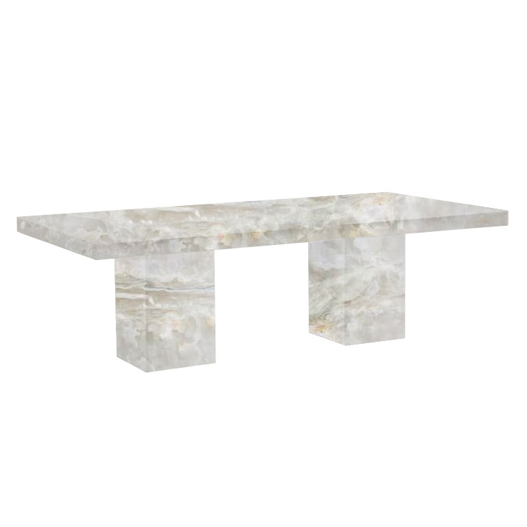 White Bedizzano 8 Seater Onyx Dining Table