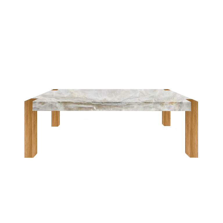 White Percopo Solid Onyx Dining Table with Oak Legs