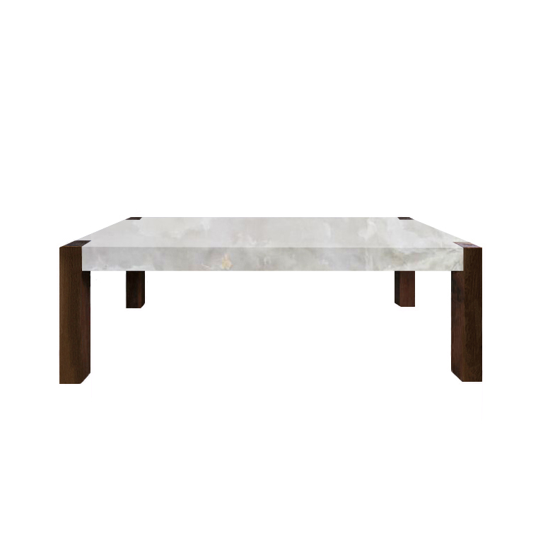 White Percopo Solid Onyx Dining Table with Walnut Legs