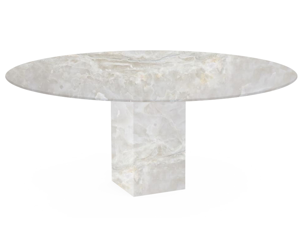 White Arena Oval Onyx Dining Table