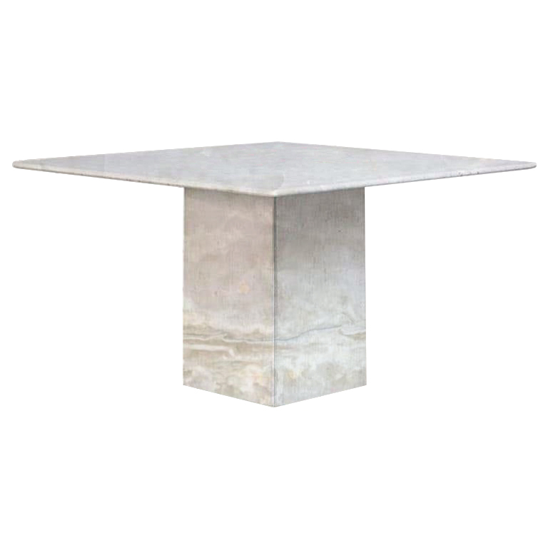 White Small Square Onyx Dining Table