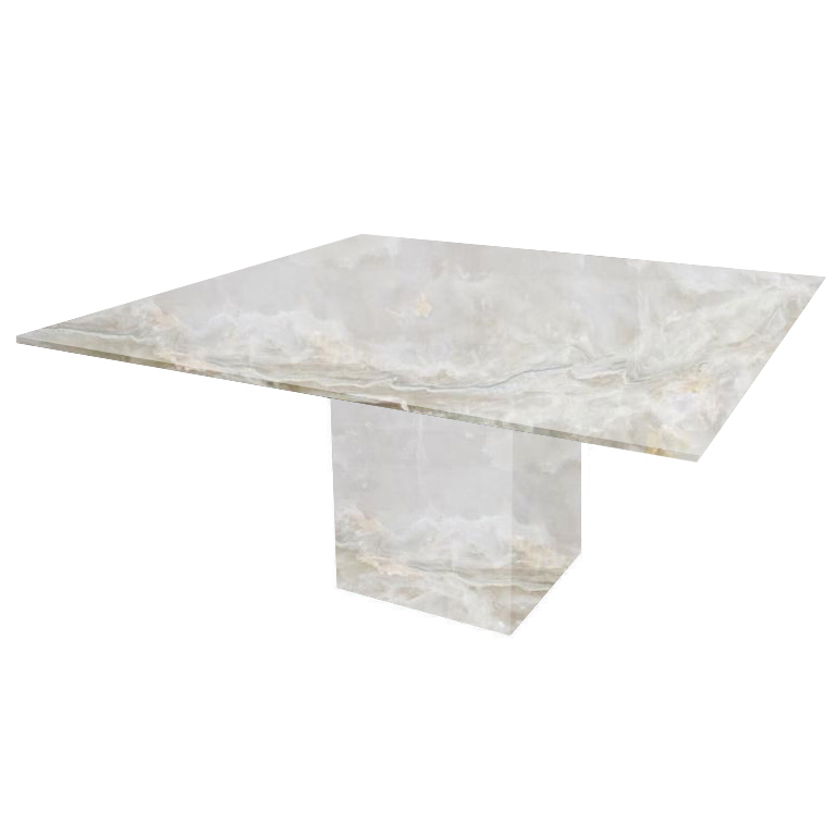 White Bergiola Square Onyx Dining Table