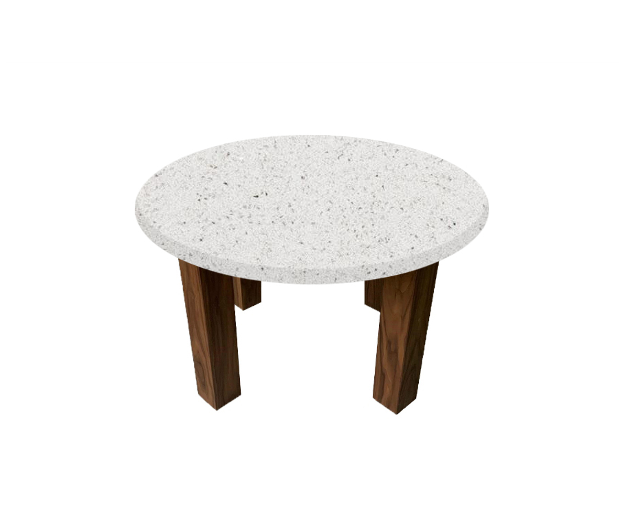 White Starlight Round Coffee Table with Square Walnut Legs