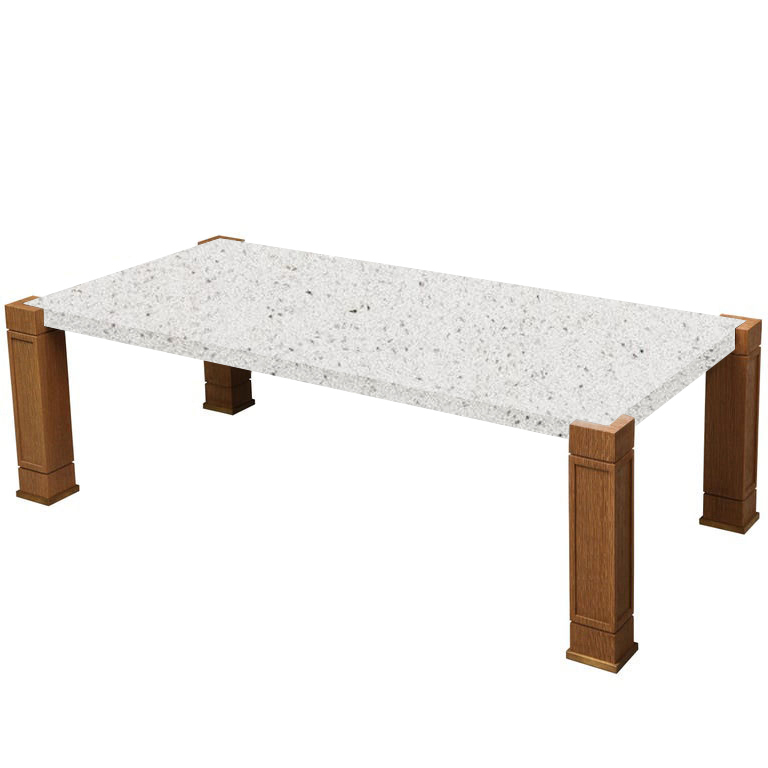 Faubourg White Starlight Inlay Quartz Coffee Table with Oak Legs