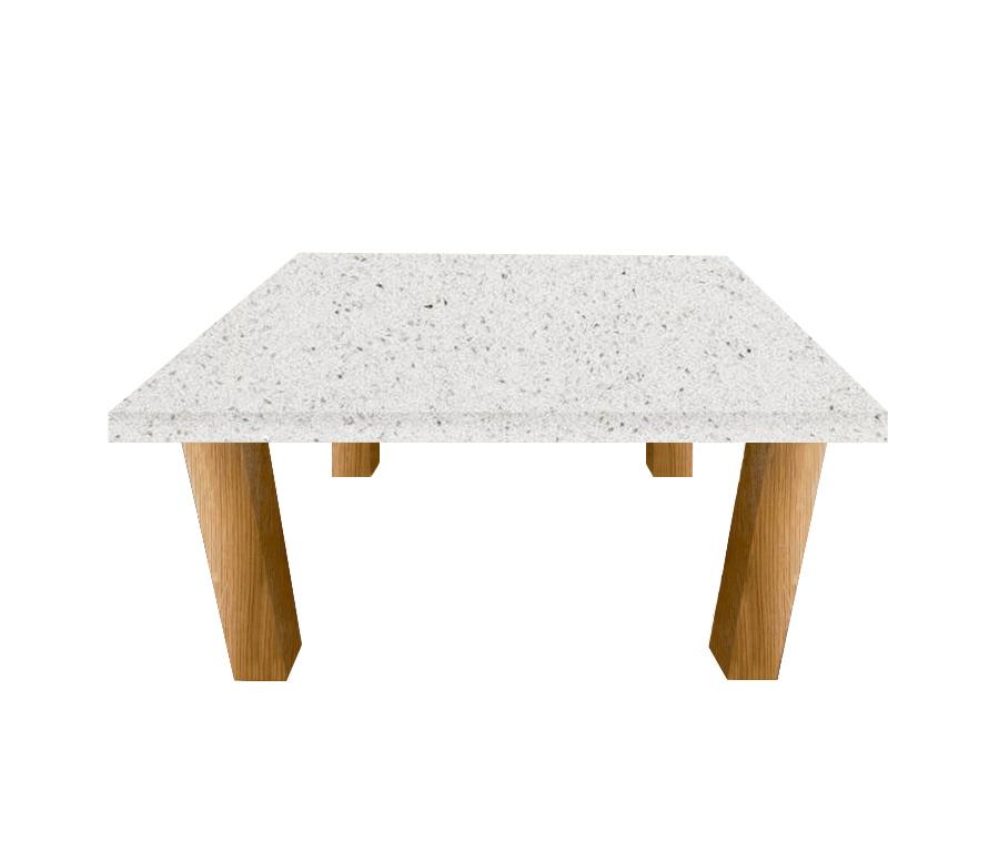 White Starlight Square Coffee Table with Square Oak Legs