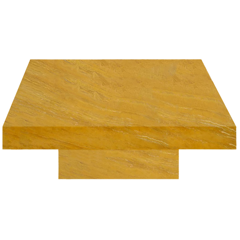 Yellow Square Solid Travertine Coffee Table