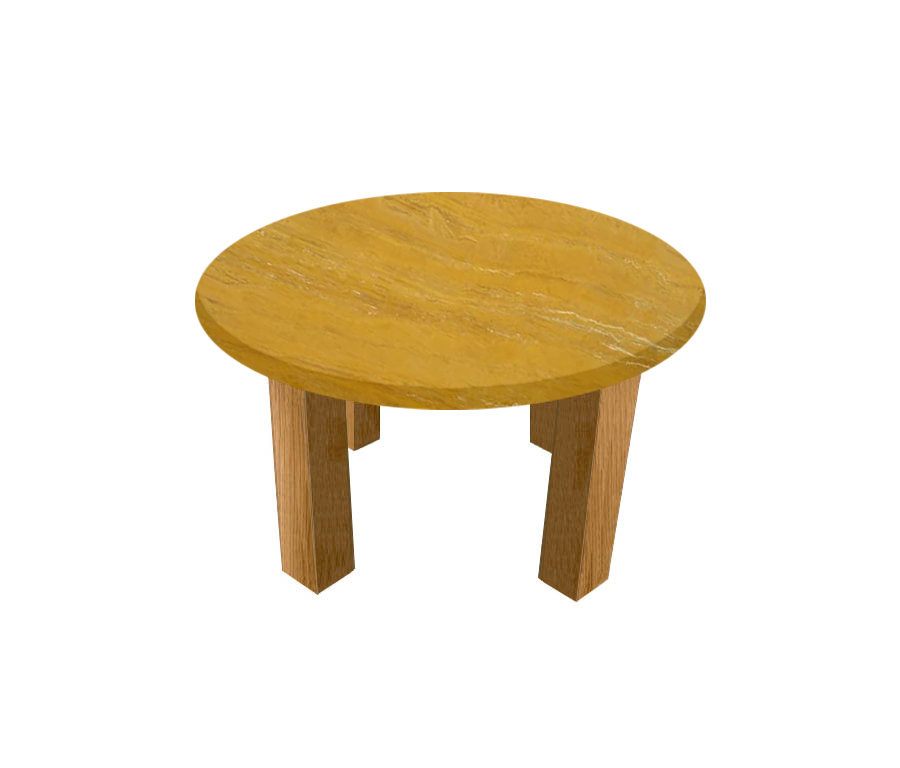 Yellow Travertine Round Coffee Table with Square Oak Legs