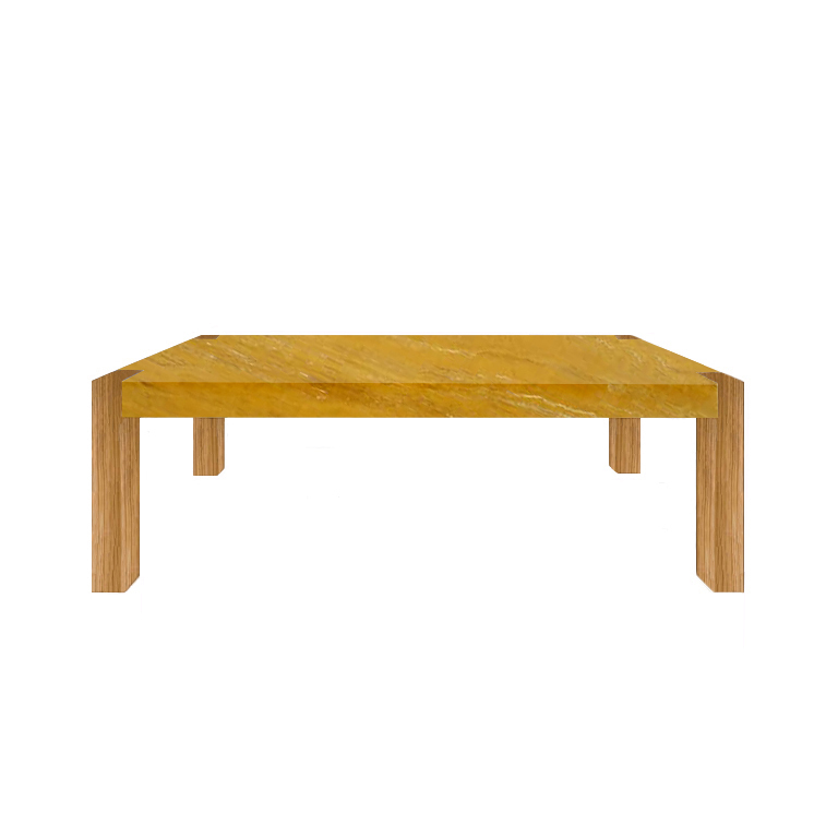 Yellow Percopo Travertine Dining Table with Oak Legs