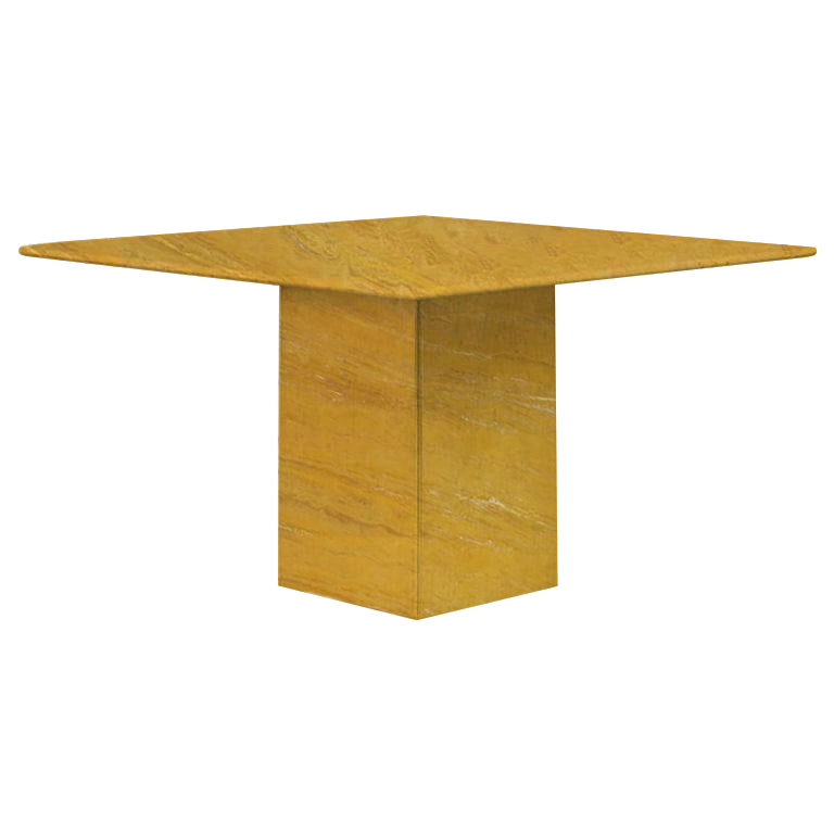 Yellow Small Square Travertine Dining Table