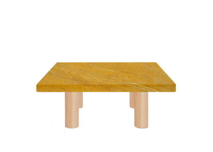 Yellow Travertine Square Coffee Table with Circular Ash Legs