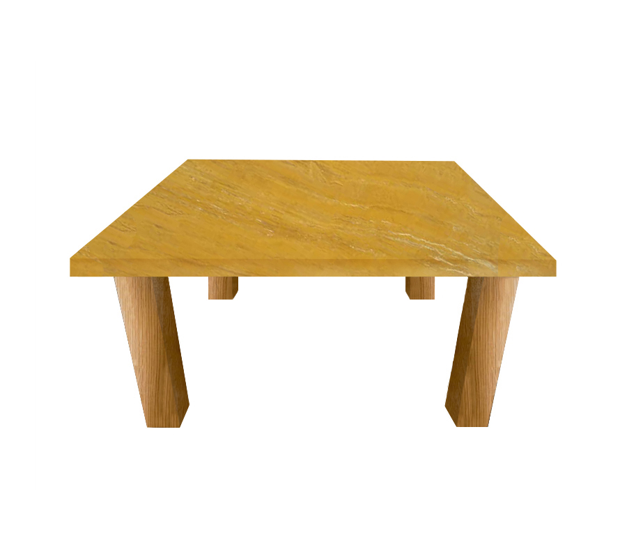 Yellow Travertine Square Coffee Table with Square Oak Legs